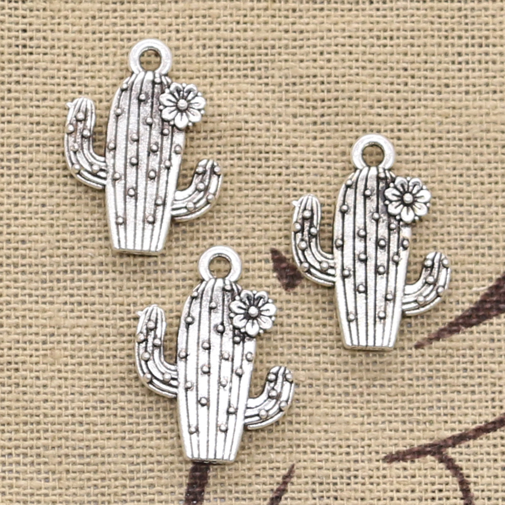 6pcs Charms desert cactus flower 20x15mm Antique Silver Plated Pendants Making DIY Handmade Tibetan Silver Finding Jewelry(China)