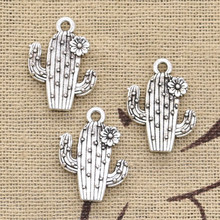 8pcs Charms desert cactus flower 20x15mm Antique Silver Bronze Plated Pendants Making DIY Handmade Tibetan Finding Jewelry(China)
