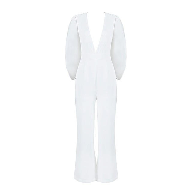 Summer Fashion Women Elegent Jumpsuit New 2016 White Sexy Deep v Neck Rompers Womens Jumpsuit