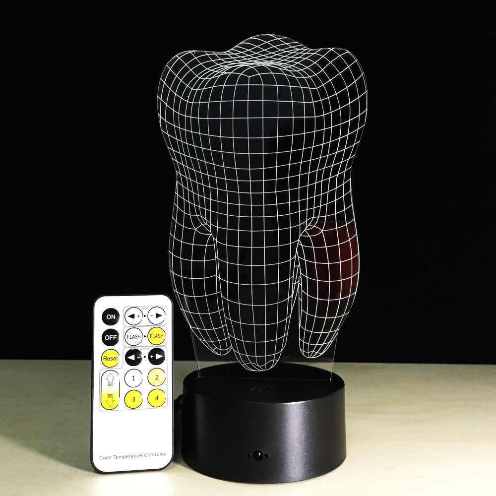Бесплатная доставка 1 шт зуб череп Мульти-цветные лампочки свет акриловые 3D зуб настольная лампа