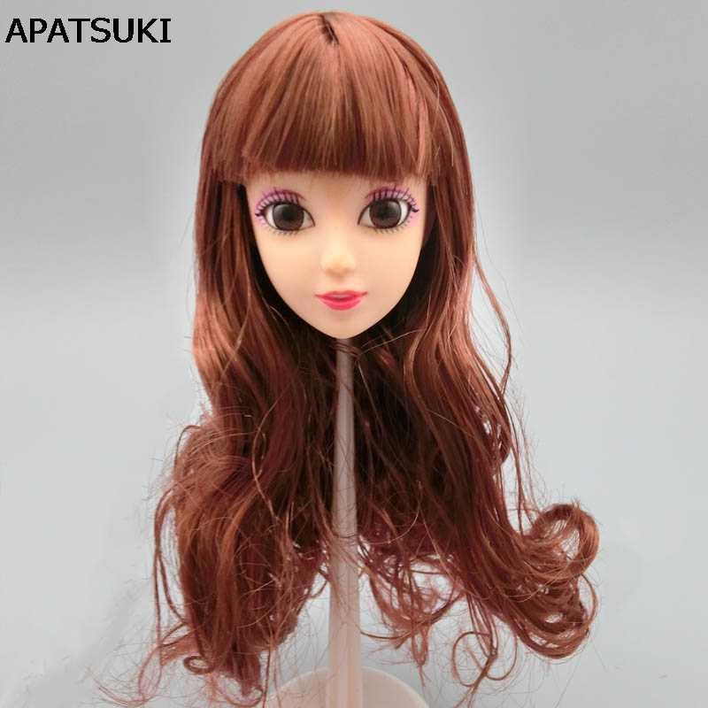 Детская игрушка «сделай сам», подарок, коричневые волнистые волосы, 1/6, голова куклы, 3D, настоящий глаз, китайские кукольные головки для 11,5 дюймов, кукла, сделай сам, аксессуары для BJD, кукольный домик
