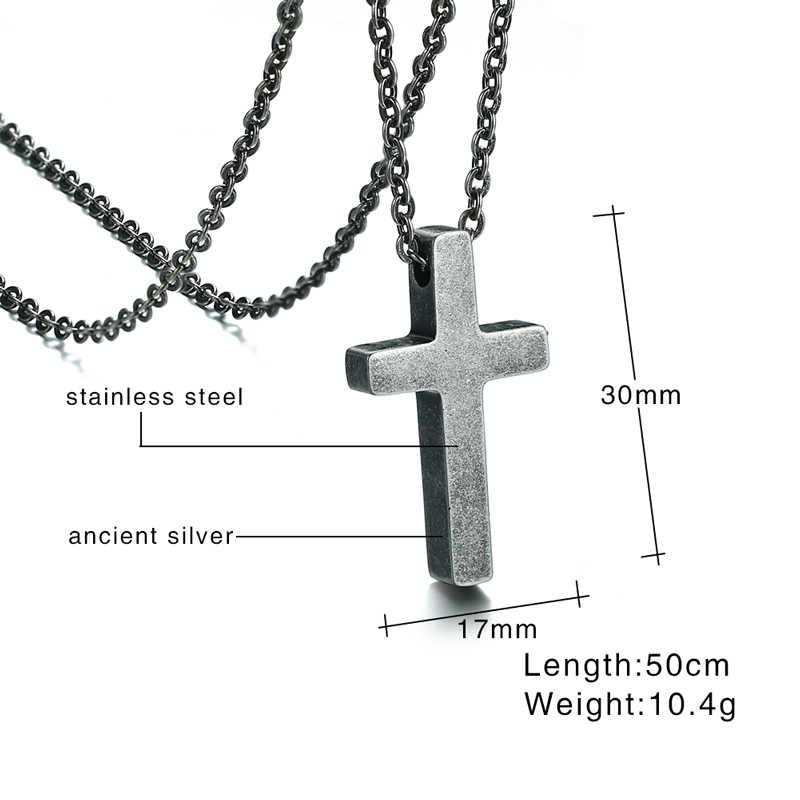 Proste męskie antyczne srebro kolor krzyż wisiorek naszyjnik ze stali nierdzewnej w stylu Vintage biżuteria dla kobiet mężczyzn Choker Collier 20 cal