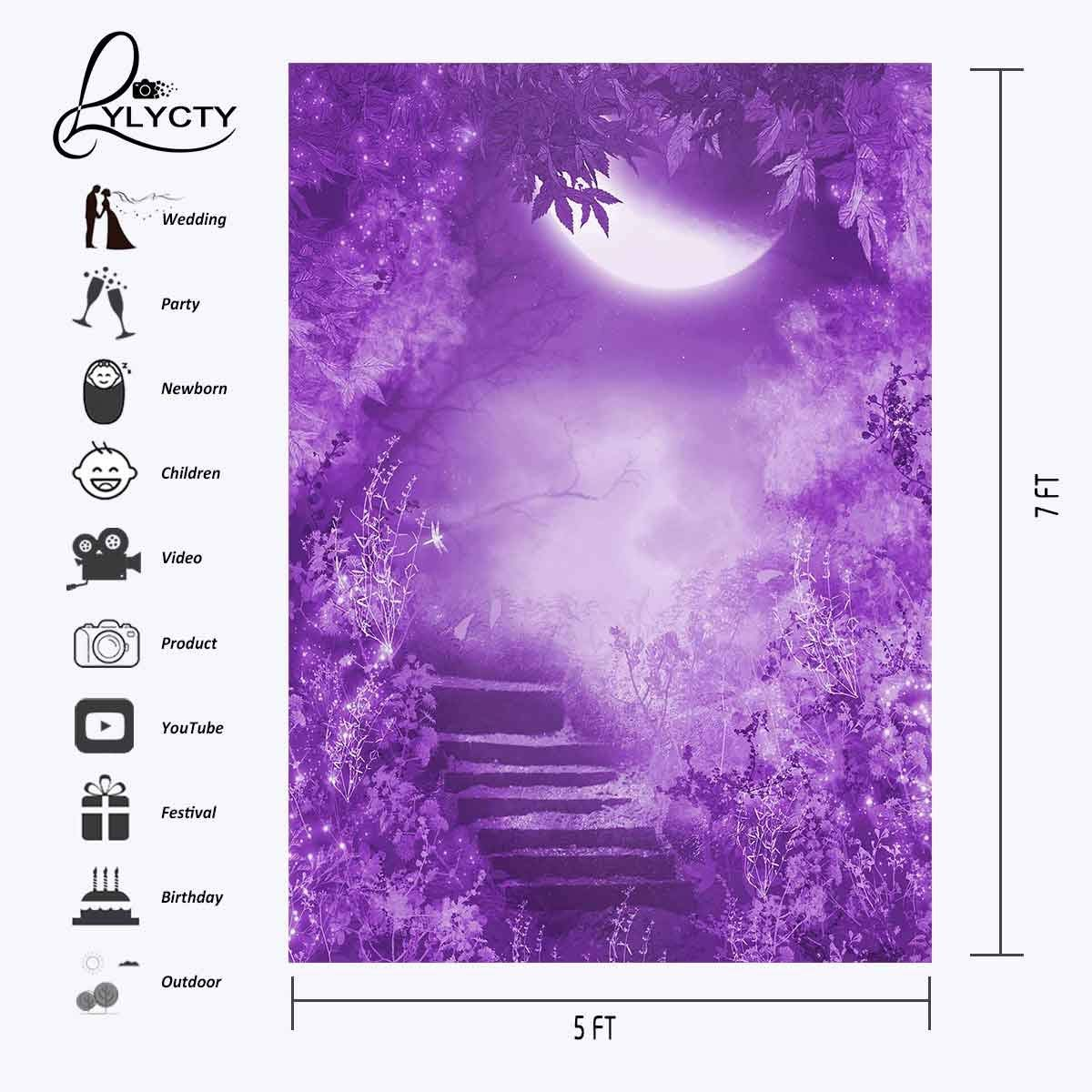 150x220cm Fantastic Night Scene Backdrop Ultraviolet Color Photography Background Mountain Path Backdrop in Photo Studio Accessories from Consumer Electronics