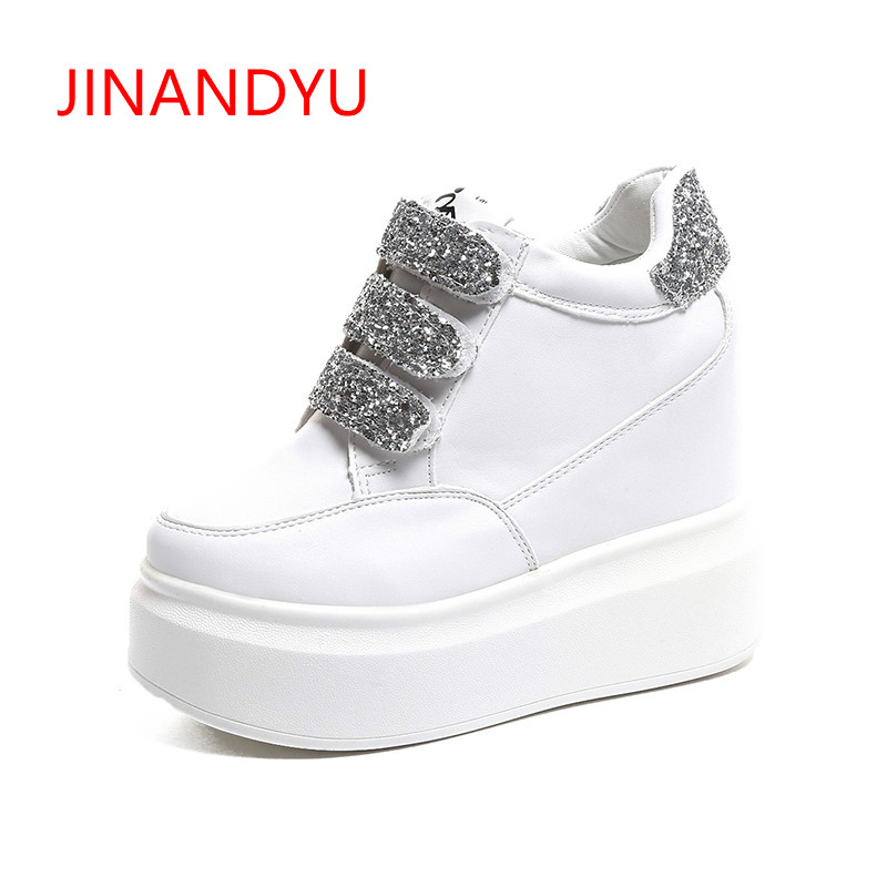 e3c26752343a Wedges Sequins Shoes Woman Platform Shoes Hidden Heel Height Increasing 12cm  Black White Wedge Sneakers Women Casual Shoes 2018
