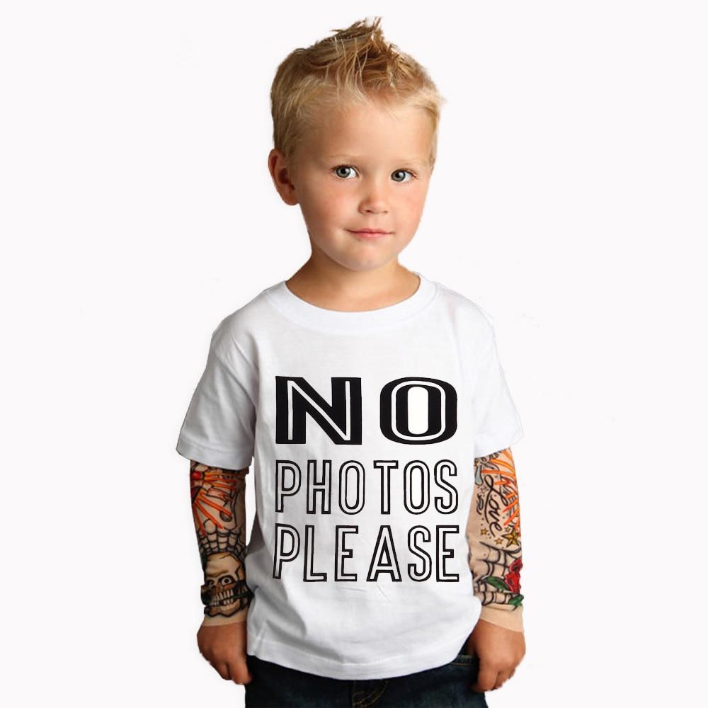 Boy Clothing Cotton T-shirts 2019 New Tattoo Sleeve NO PHOTOS PLEASE  Top Tees Spring & Autumn Boys Girls Clothes