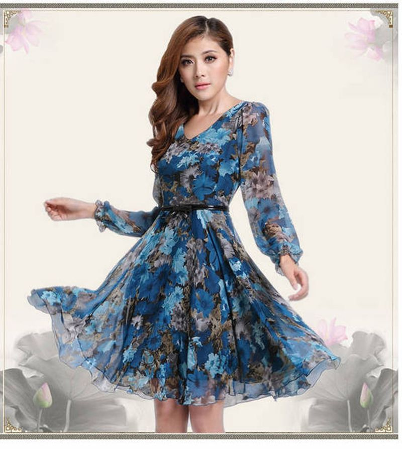 18ae7fd4832 Aliexpress.com   Buy 2019 Summer Floral Print V Neck Long Sleeve Women Dress  Elegant Casual Chiffon Party Dresses + Belt from Reliable women dress  suppliers ...