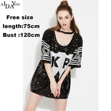 Women sliver T-Shirt Fashion Loose Sexy Letter Tops Pullover Sequined O-neck Tshirts  Korean Jap show AIDAYOU OUC546