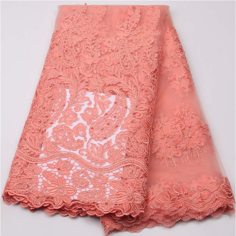 Peach beaded laces fabric with embroidered 2018 high quality lace french tulle lace fabric for african