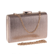 Bamboo Charm Casual Evening Bag Party Clutch For Women Striped PU Solid Handbag Flap Metal Chain Shoulder Crossbody Messenger