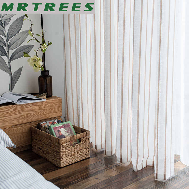 MRTREES Striped Linen Curtains for Living Room the Bedroom Curtains for The Kitchen Modern Tulle Curtains for Window Drapes Door