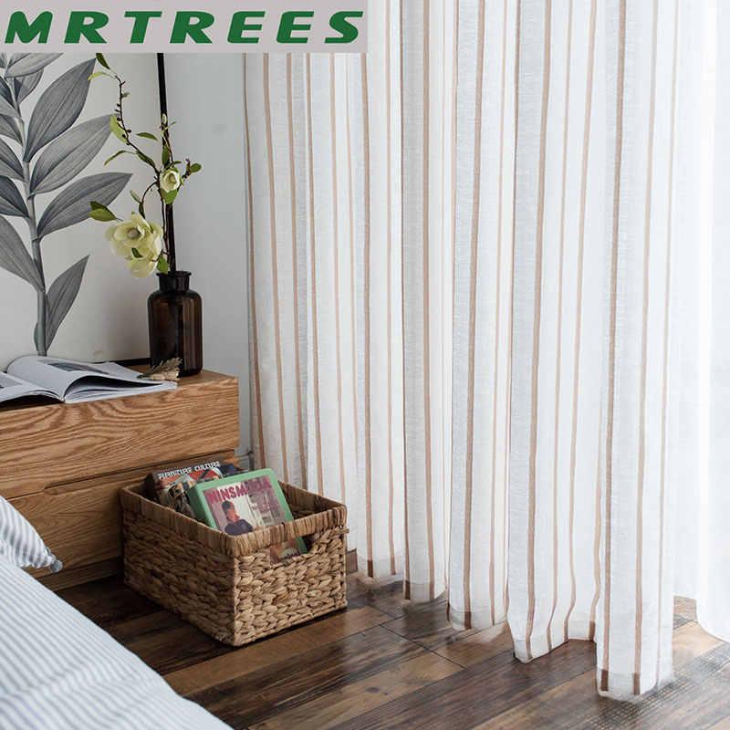 Mrtrees listrado cortinas de linho para sala estar o quarto cortinas para a cozinha moderna tule cortinas para janela porta