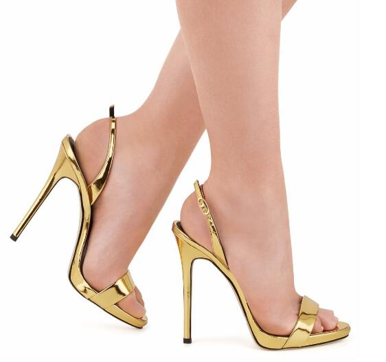 13bb6ee0e50 Glitter opne-toe sandals for women high heel slingbacks shoes gold red  silver rose-gold apricot sandals concise runway shoes
