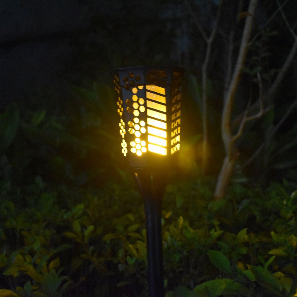 2pcs Solar Powered Torch Lights Flickering Flame Light Torch Lamp Waterproof for Outdoor With Ground Stake No Strobe Lights