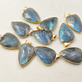 WT-P1049 Hot sale Teardrop Labradorite Pendant with 24k gold electroplated ,Natural Stone Lovely heart Stone Pendant 25*35mm