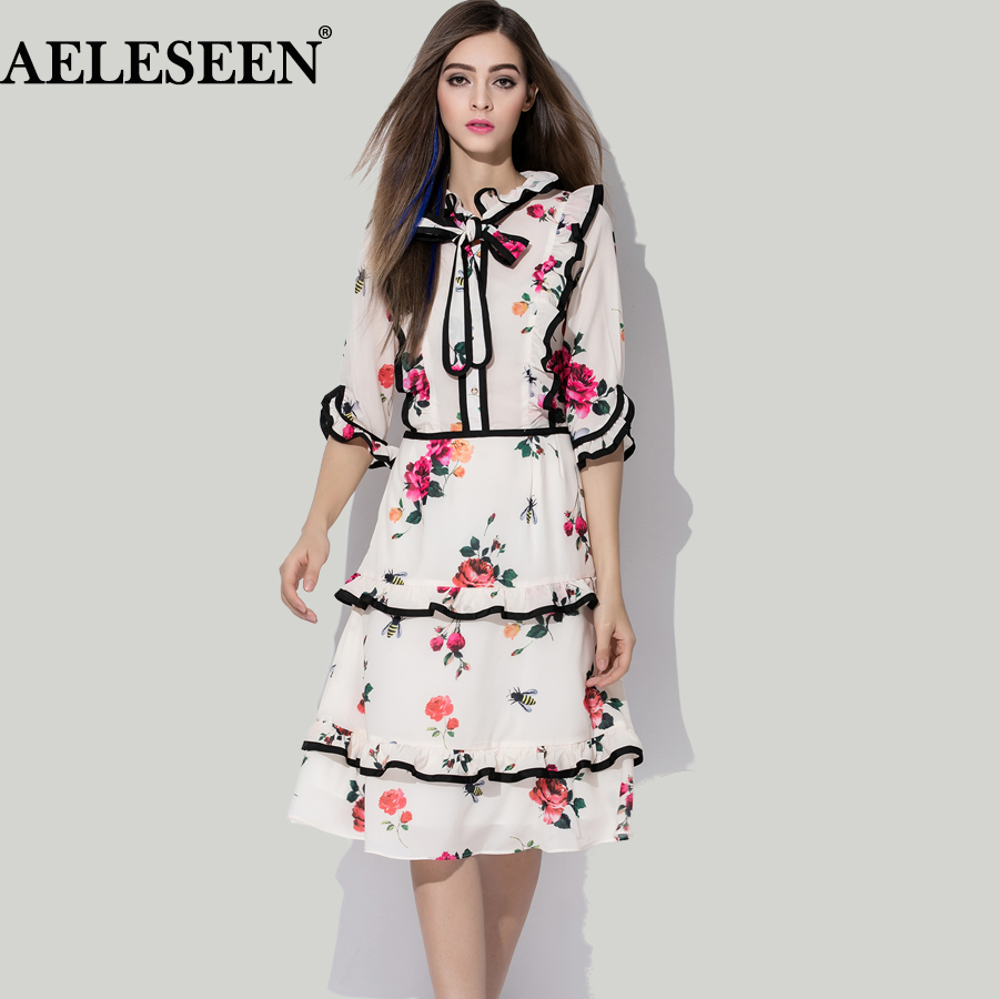 Elegant High quality Dress 2018 Korea Fashion Half Sleeve ...