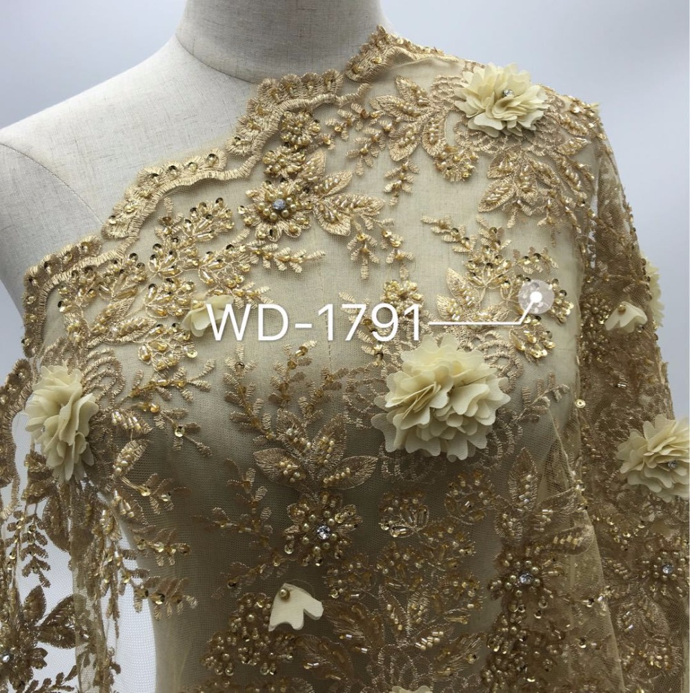 Free shipping Gold lace fabric tulle mesh embroidered flowers beaded corded lace light gold shiny lace material for wedding dree