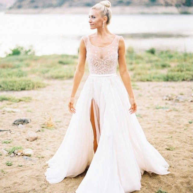 Country Wedding Fashion Sheer Bridal Dress with Beading Scalloped ...
