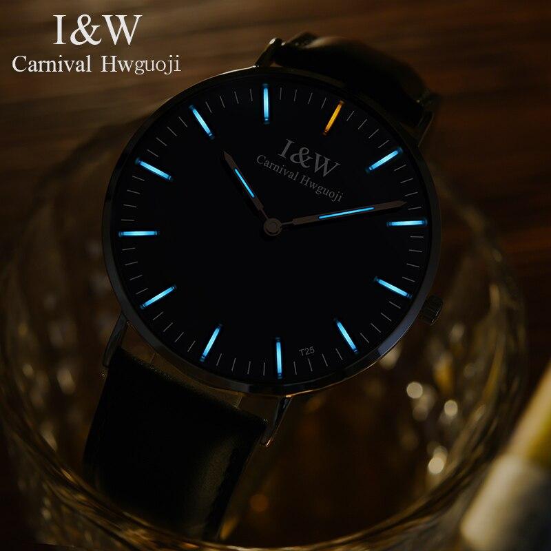 Relogio Masculino CARNIVAL 2018 Ultrathin Men Watch Tritium Luminous Analog Quartz Watch With Swiss Movement,Sapphire,Waterproof