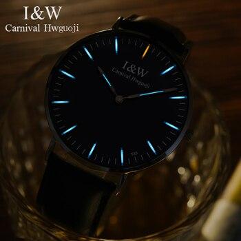 1cdb9d6cd816 Reloj masculino carnaval 2018 ultrafino reloj de los hombres de tritio  luminosa reloj de cuarzo analógico con movimiento suizo zafiro resistente  al agua