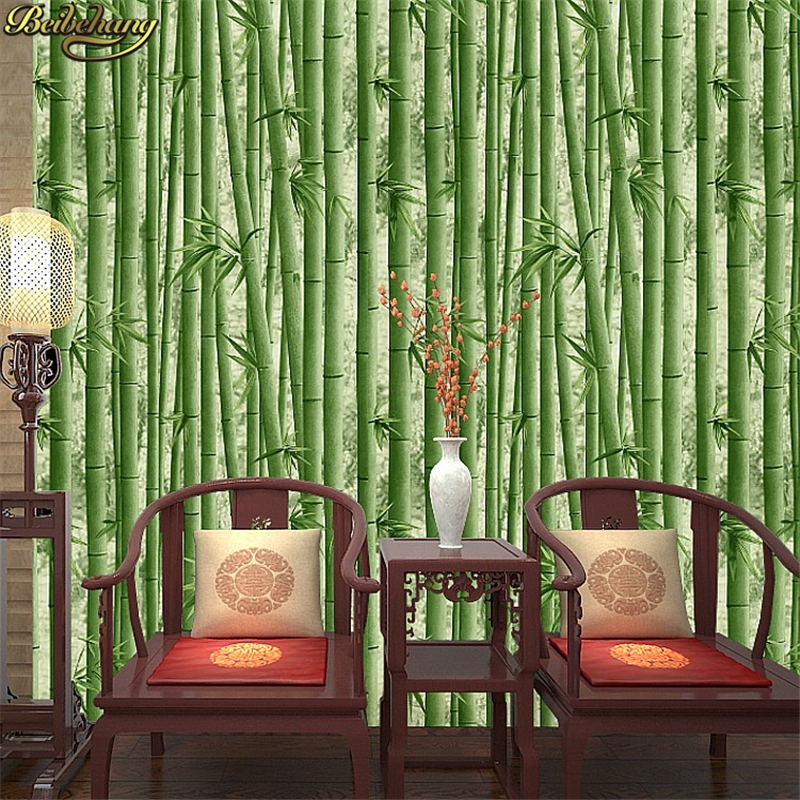 beibehang- New Romantic Pastoral Fresh Style Bamboo Design Butterfly Mural Wallpaper Non-woven 3D Wall Paper Bedroom Papier