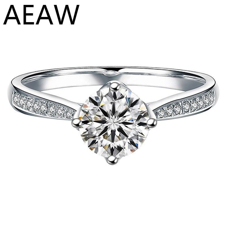 Au 750 véritable femme bague de fiançailles 6.50mm laboratoire diamant avec Moissanite bijoux solide 18 K or blanc bague classique dame bijoux