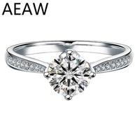 Au 750 натуральная женская обручальное кольцо 6,50 мм лабораторный алмаз с муассанитом ювелирные изделия Твердые 18 к белое золото кольцо Класси