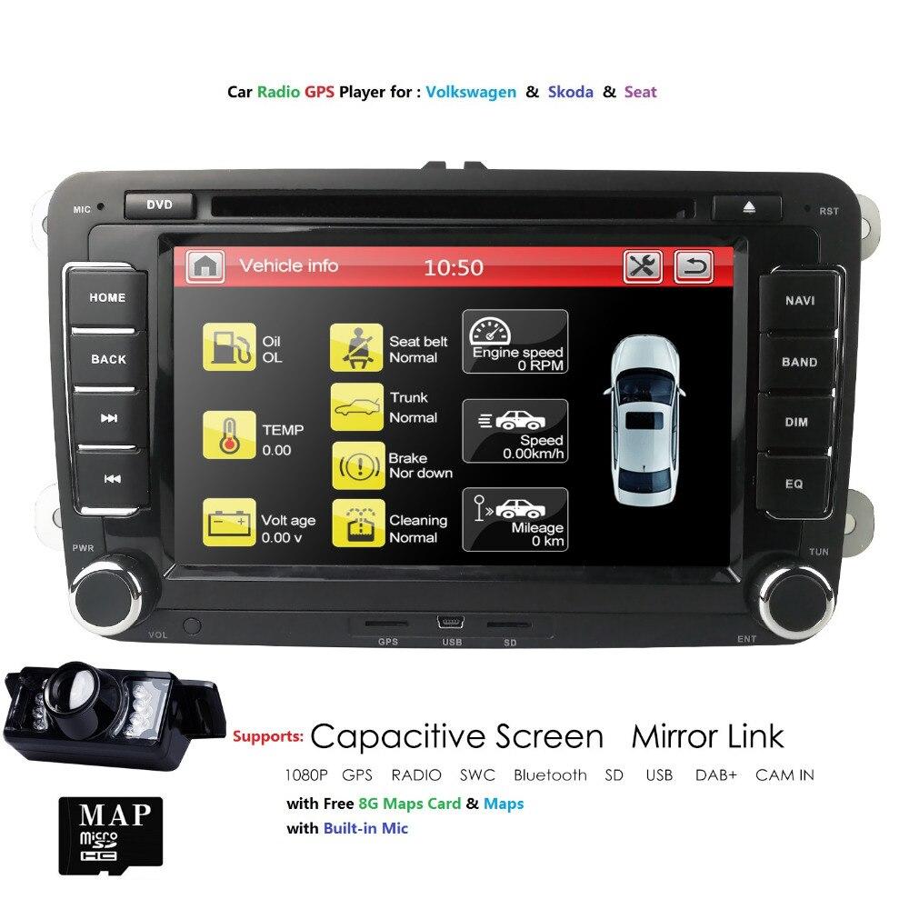 7''2Din lecteur DVD de voiture Radio GPS Navigation pour VW Golf Polo Jetta Touran Mk5 Mk6 Passat B6 stéréo Bluetooth SWC RDS Mirror-Link
