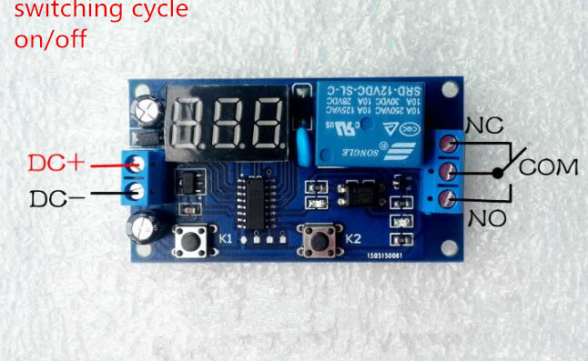 Delay Time Relay Module Timer relay 5v/ 12V LED Display Intelligent Control Time Relay/Delay for switching cycle on/off