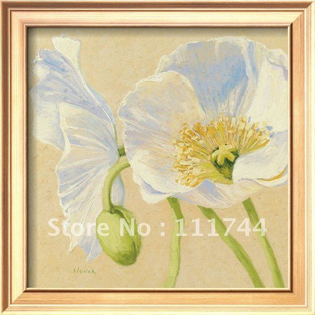 Modern floral paintings White Poppies I by Shirley Novak canvas wall ...