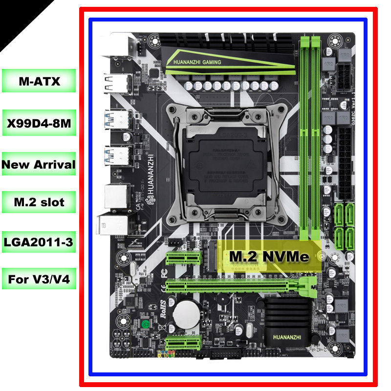 HUANANZHI M ATX X99 motherboard for all LGA2011-3 processors such as 2680 V4/V3 M.2 NVMe slot 2*DDR4 4*USB3.0 4*SATA3.0 ports 1