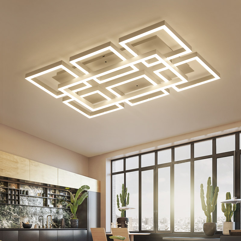 Square Modern Led Ceiling Lights For Living Room Bedroom White Color Acrylic Home Dec Surface Mounted