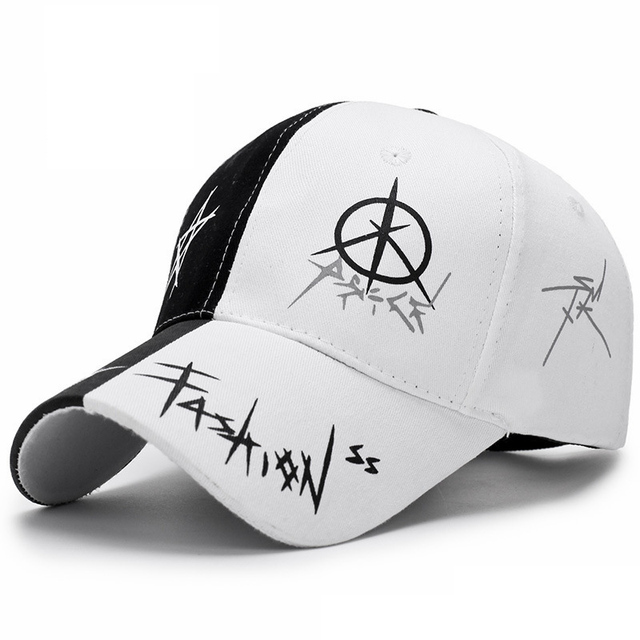 Black White Stitching Baseball Cap Man Woman Leisure Simple Style Hat  Summer Fashion Bones Teenager Hip 56d9672bc33