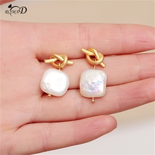 Knotted Decor 925 Sterling Silver Earrings High quality drop pearl Paved Freshwater Pearl Drop Earring For Women Classic Gift A4