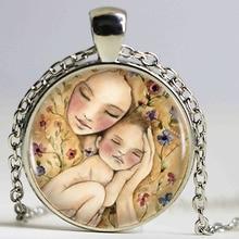 Perfecto madre y bebé bronce colgante collar encanto del amor hecho a mano Vintage collar madre joyería niños