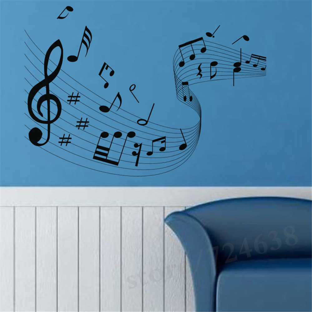 Quaver musical wave home decor music notes wall stickers music art quaver musical wave home decor music notes wall stickers music art living room removable vinyl sheet music decals wallpaper in underwear from mother kids amipublicfo Gallery