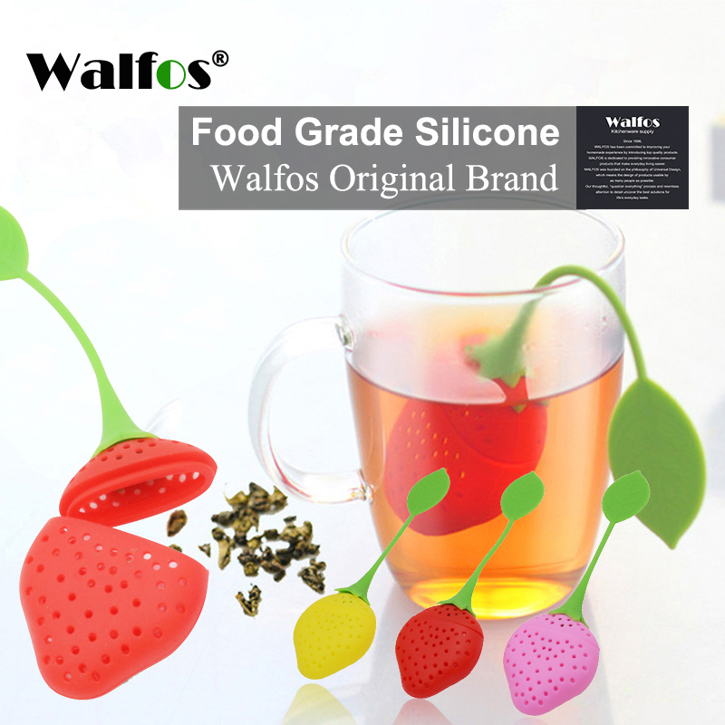 WALFOS Silica Gel Strawberry Tea Strainer Bag Tea Strainer Bag Ball Sticks Loose Herbal Spice Silicone Tea Infuser Filter Tools