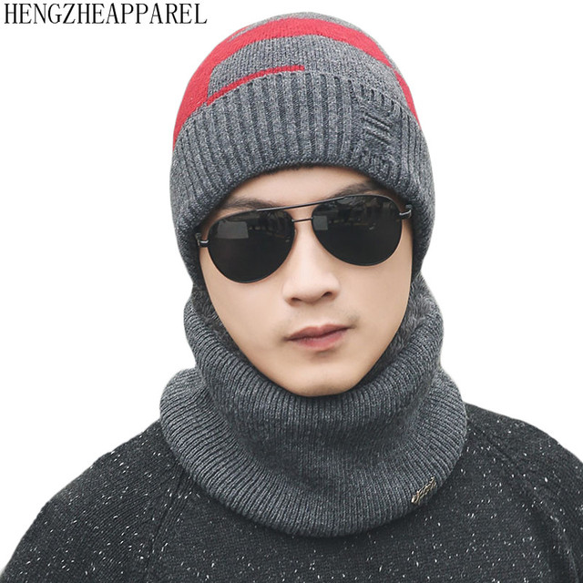 6fa073d702c Hengzheapparel Men Winter Hat Scarf 2pieces Set Thicken Windproof Suit Wool  Knitted Earflaps Boy Skullies Plush Neck Wear