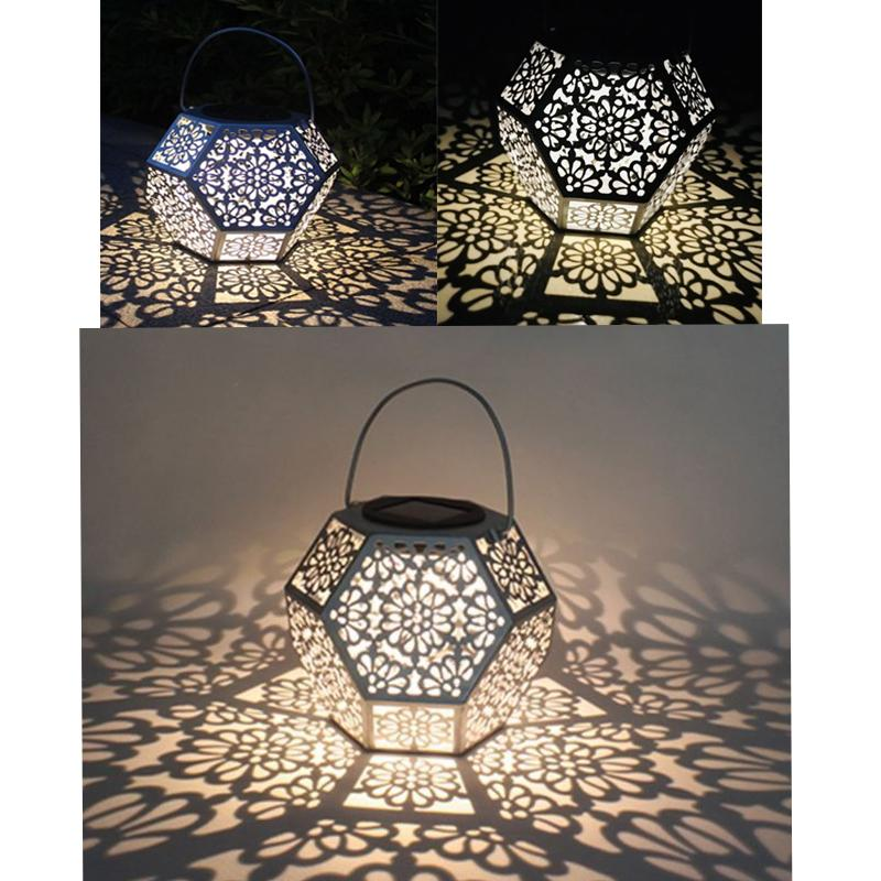 Retro Solar Lantern Diomand Shaped Hanging Landscape Light for Home Garden Decoration one light frosted glass antique rust hanging lantern