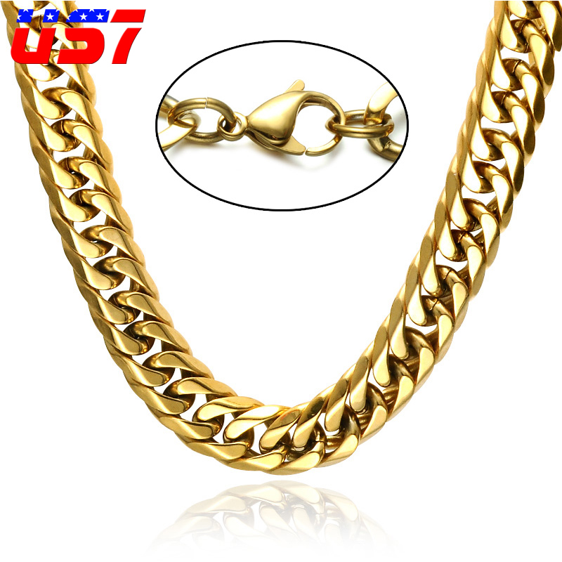US7 HIip Hop Gold Color Miami Cuban Link Chain Necklaces 60CM Double layer Curb Chain For Men Rock Jewelry