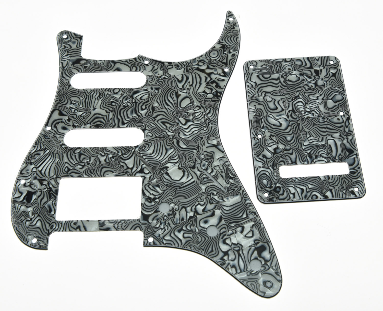 Zebra Stripe ST Style HSS Pickguard Scratch Plate Back Plate Screws