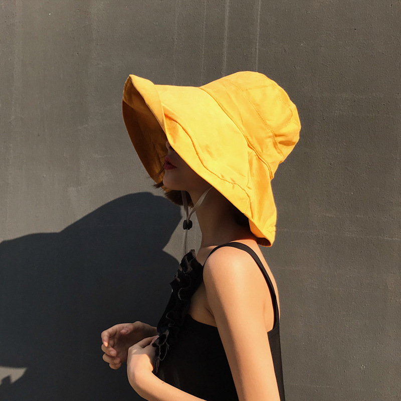 New Korean Large Hat Brim Peach Skin Outdoor Sun Women Pure color Foldable Sunshade Cap in Women 39 s Sun Hats from Apparel Accessories