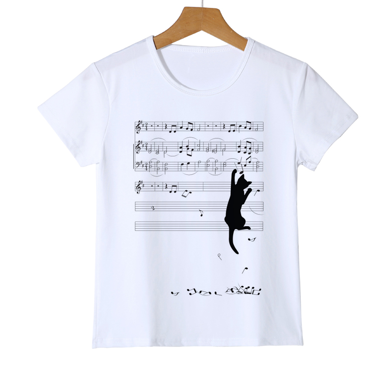 Brand Summer Harajuku Animal 3D Music spectrum Cat Print Kids Shirt O-Neck Short Sleeve T Shirt Boys Tops Girls T-shirt Z21-5 цены