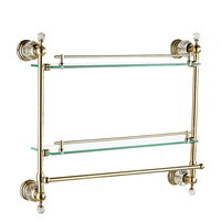 Antique Crystal Glass Shelf Bathroom Luxury Bronze Double Layer Bathroom Shelves Bathroom Accessories Products Df30