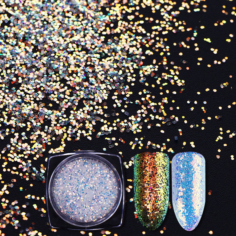 NICOLE DIARY 1g Super Shiny Chameleon Unicorn Nail Glitter AB Color Sequins Flakes Paillette Powder Nail
