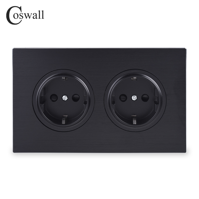 Coswall Luxurious Black Aluminum Panel 16A Double EU Standard Wall Power Socket Grounded With Child Protective Lock 146 Type