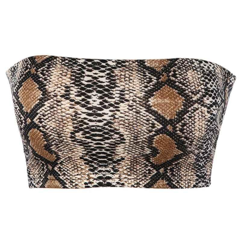 c7f986a8388 ... Sexy Snake Skin Print Tube Top 2019 New Fashion Women Strapless Boob  Tube Bra Ladies Stretch ...