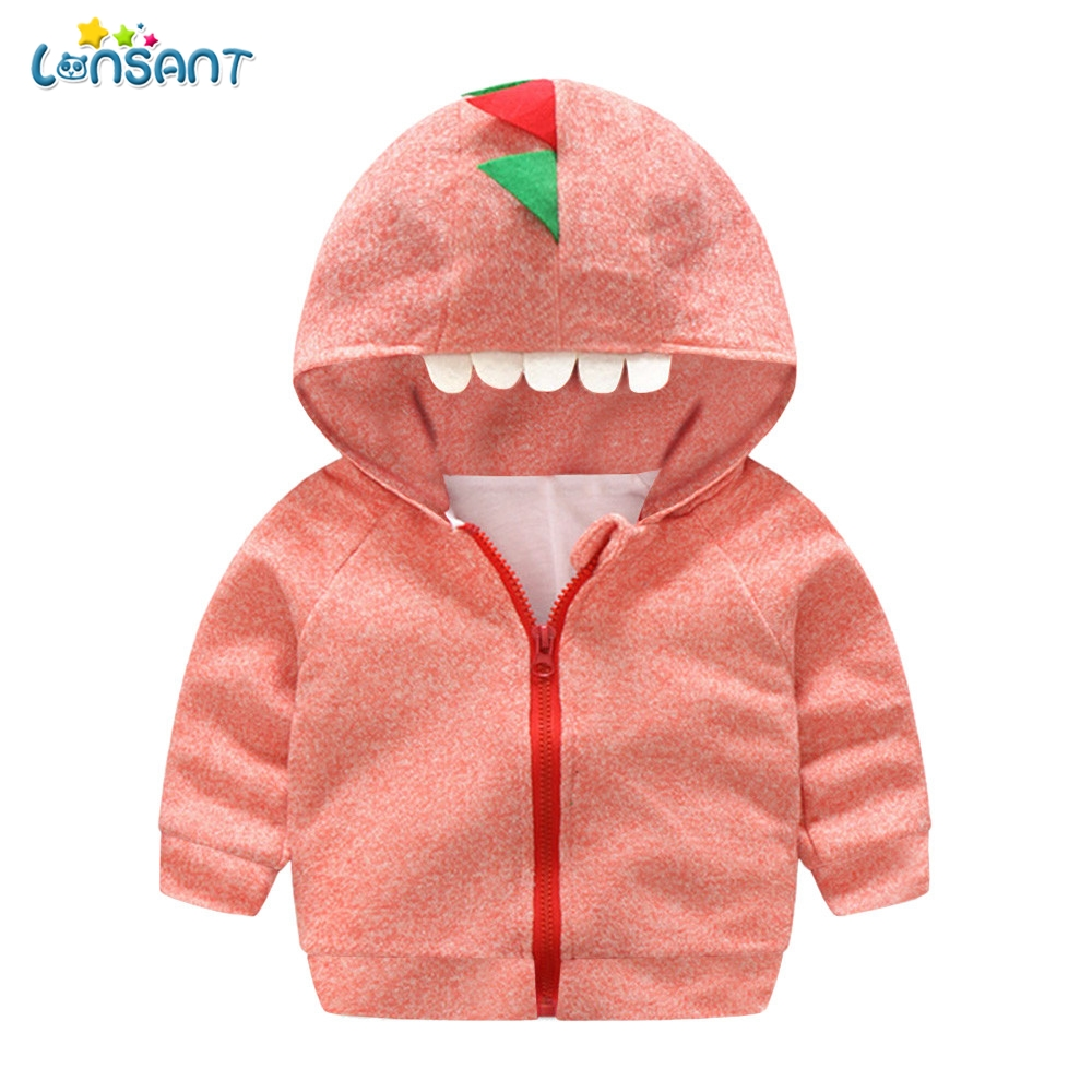 Toddler Baby Boy Girl Cartoon Dinosaur Hooded Coat Jacket Tops Kids Clothes Fall