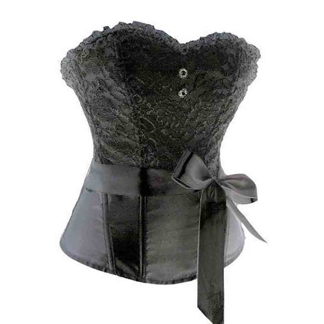 fe94265169 Sexi Women Burlesque Overbust Lace Corset Bustier Top Waisttrainer Sexy  Gothic Corsets With Bowknot