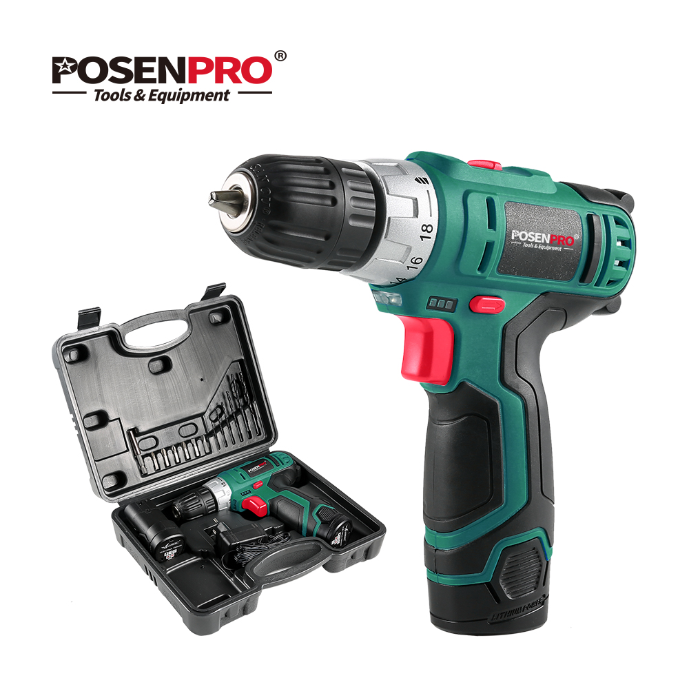 POSENPRO 10 8V Electric Screwdriver Cordless Drill Wireless Power Driver 2 Speed Rechargeable DC Lithium Ion Battery Power Tool in Electric Drills from Tools