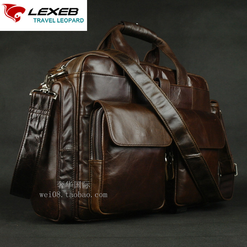 LEXEB Brand Leather Men's Briefcase For 15 Laptop Vintage Classic  Business Travel Bag High Quality Office Bags For Men Coffee lexeb brand lawyer briefcase vintage crazy horse leather men laptop bag 15 inches high quality office bags 42cm length brown